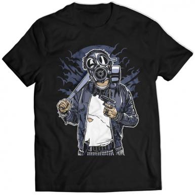 Gas Mask Bastard Mens T-shirt