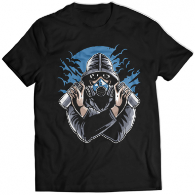 Gas Mask Graffiti Mens T-shirt