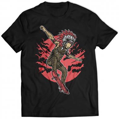 Indian Chief Skateboard Mens T-shirt