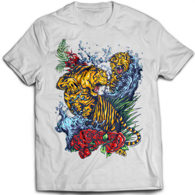 Tigers Fight Tattoo Mens T-shirt
