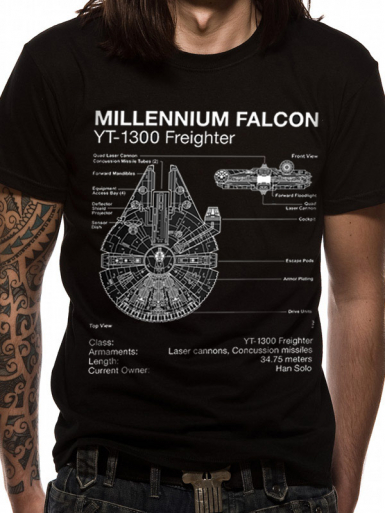 Millennium Falcon Blueprint - Star Wars Mens T-shirt